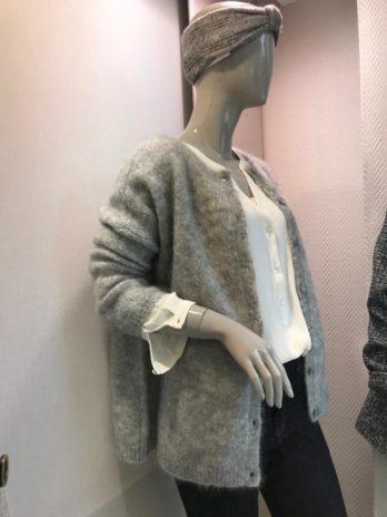 Gilet col rond gris Nuage Domisette – Des Petits Hauts